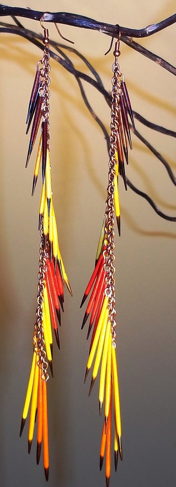 Porcupine quill tassel earrings - Ready to ship