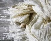 Creamy lace - ecru, beige, light cream silk scarf.