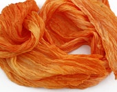 Simply Orange -  deep and light orange, light pumpkin silk scarf.