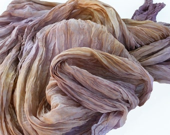 Plum in Cognac -  brown, light brown, walnut, hazelnut,cognac, plum, purple, pink silk scarf.