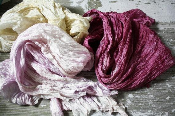 The exuberance of PEONIES - beige, light pink, mauve 3 silk scarves.