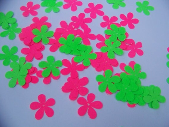 100 Pieces Groovey Neon Pink and Green Flowers Confetti Die Cut  Scrapbooking