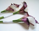 Purple Calla Lily Bridesmaids bouquets, silk wedding flowers, hand tied, sheath, wedding bouquet, artificial flowers