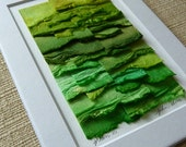 Handpainted Shades of Green Create This Original Paper Collage