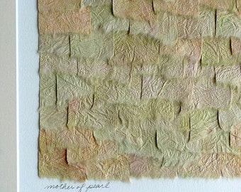 Handpainted Paper Collage in Shades of Orange Pink Green Ivory