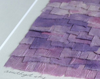 Hand Painted Paper In Shades Of Lavendar Pink And Purple Create a Unique Original Collage