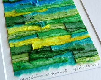 Paper Collage Handpainted Shades of Green Blue and Yellow