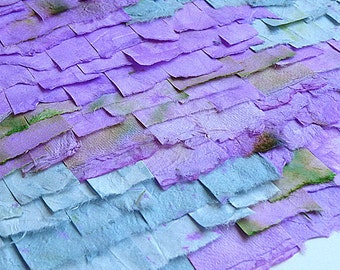 Original Paper Collage From Handpainted Mulberry Paper In Watercolor Shades Of Blue Purple and Green