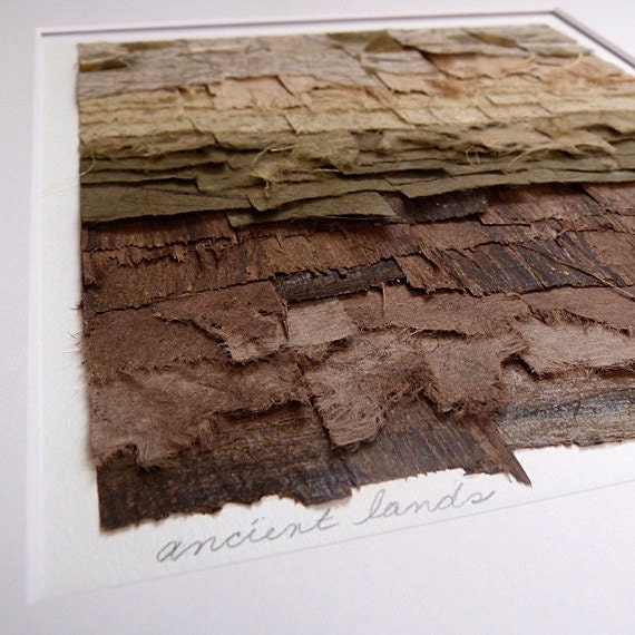 Paper Collage Artwork Shades of Brown