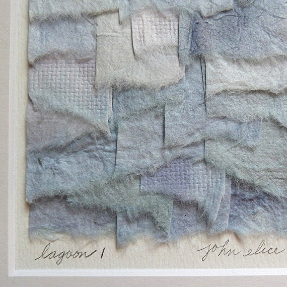Torn Paper Collage In Nautical Shades of Blue