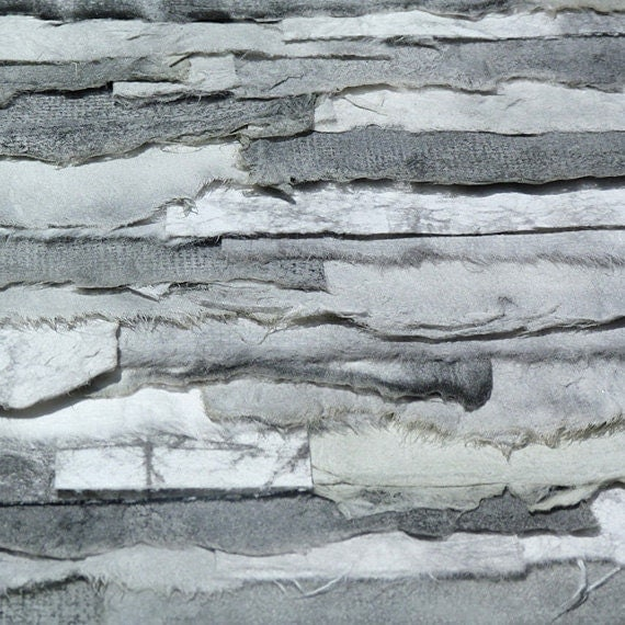 Torn Paper Collage Handpainted In Tonal Shades Of Black White and Gray