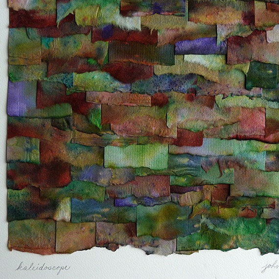 Jewel Toned Kaleidoscope Collage in Handpainted Shades of Green Purple Red