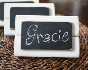 Set of 4 - Mini Frame Chalkboard Place Cards - Table Markers - Distressed Wood - Chalkboard Sign - White with Black Chalkboard