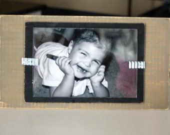 Distressed Wood Picture Frame - Holds a 4x6 Photo - Stand Up - Khaki and Black