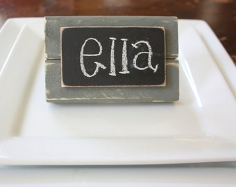 Chalkboard Place Cards - Table Markers - Distressed Wood - Gray - Set of 4