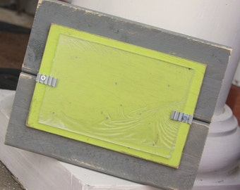 Distressed Wood Picture Frame - Holds a 4x6 Photo - Gray with Lime Green