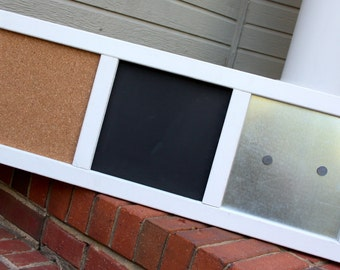 Memo Board - Wood Frame - Large - Magnetic Board, Chalkboard, Cork Board - White