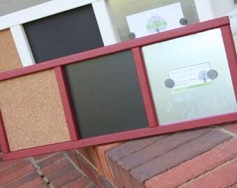 Memo Board - Organizer - Wood Frame - Magnetic Board, Chalkboard, Cork Board - Barn Red