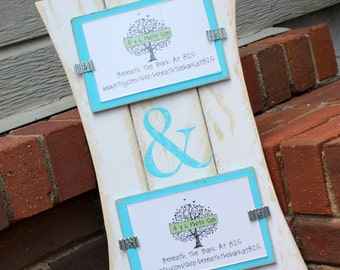 Picture Frame with Ampersand - Distressed Wood - Holds 2 - 4x6 Photos - White & Turquoise