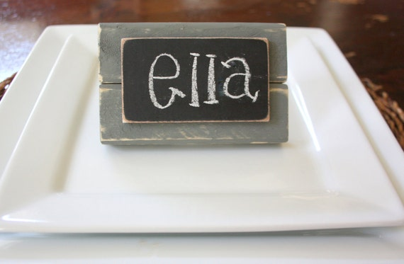 Chalkboard Place Cards - Wedding Signs - Distressed Wood - Gray - Set of 4