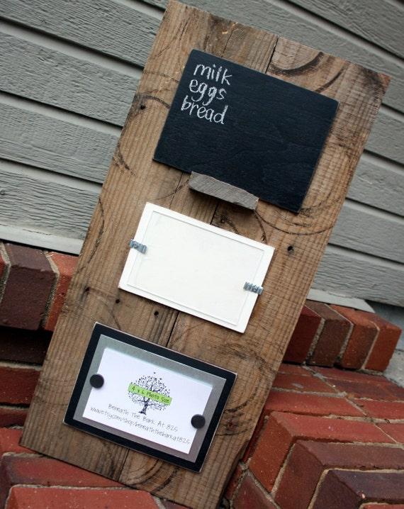 Unique Aged Wood Memo Board - Chalkboard, Magnetic Board, Picture Frame