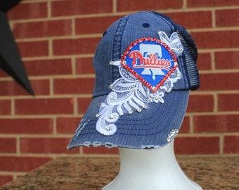 Philadelphia Philles Distressed Baseball Style Hat EXTRA Bling