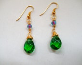 Green & Blue/Pink stone dangle earrings
