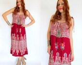 Vintage 90s BATIK HIBISCUS Cotton Sundress M L