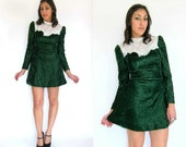 Vintage 60s Green VELVET & LACE Babydoll Mini Dress S
