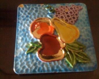Sale Vintage 50s Apple Pear Orange Grape Fruit Brooch- Signed ART