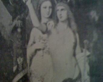 Sale Vintage 1903 Antique B&W Print -Jason Meda Garden Mythology Greek Fantasy Moreau Love Figures- Vintage Art Print -108 years Old