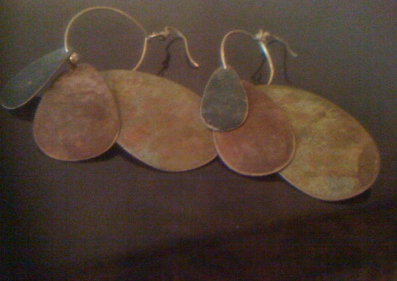 Sale Vintage 60s 70s Boho Bohemian Copper Dangle Earrings/ Large Oval Metal disc, Handmade with Verdigris Patina