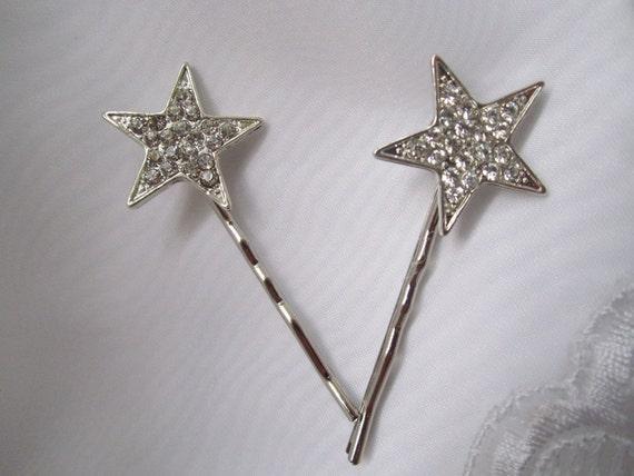 FREE Shipping US  Vintage Inspired Star Shaped Swarovski Crystal Rhinestone Bridal Hair Bobby Pin Set Wedding Hair Accessories