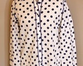 Blue and White Polka Dot Button Down Top - 1960s - Size Large