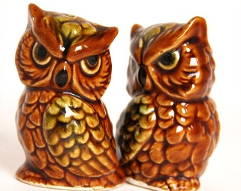 Brown and Green Owl Salt and Pepper Shakers - 1970s