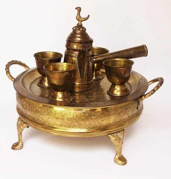 Brass Turkish Coffee Serving Set with Tray and Caddy