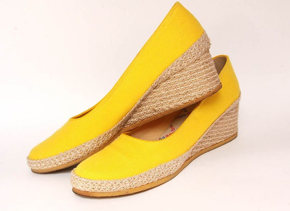 Yellow Wedge Shoes by Browsabout - Size 8 Narrow