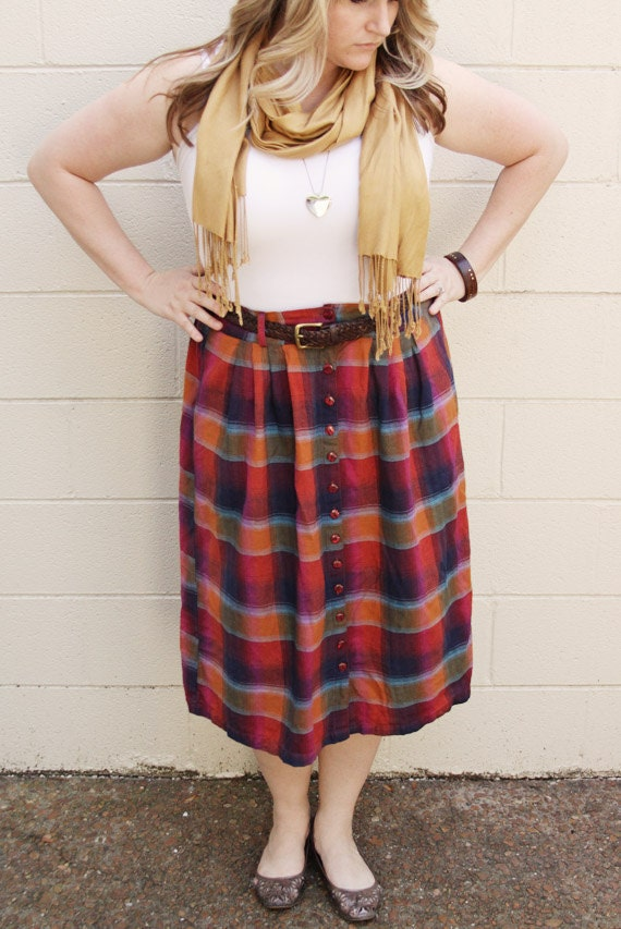 Reserved for Joana - Vintage Plaid Red, Blue and Orange Skirt by Rhythms - Size XL or XXL