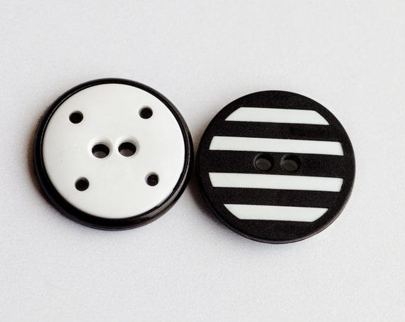 6 Medium Vintage Black and White Striped Plastic Buttons  Item 0122