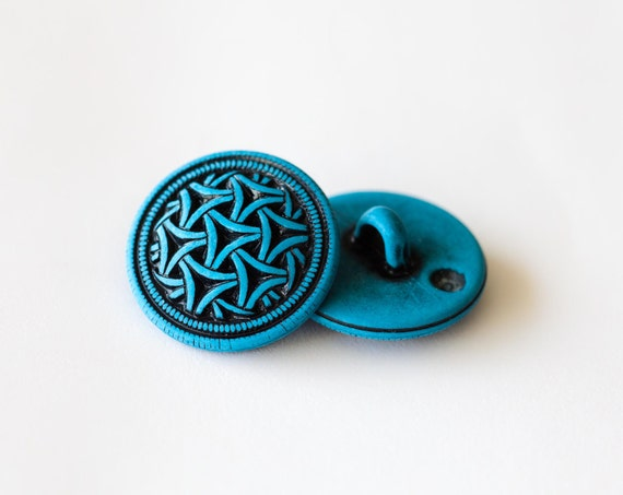 36 Vintage Round Turquoise Colored Hard Plastic Shank Buttons with Celtic Design  Item 0190