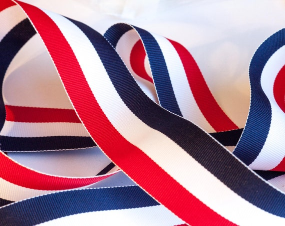 6 Yards of Vintage Red, White and Blue Stripe Grosgrain Ribbon Trim Item 0252