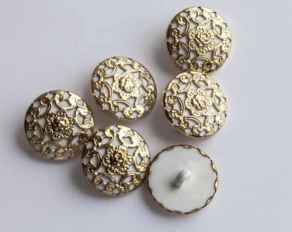 8 Vintage White Plastic Shank Buttons, Bright Gold Tone Metal, with Beautiful Openwork Metal, Lotus Type of Design  Item 0138