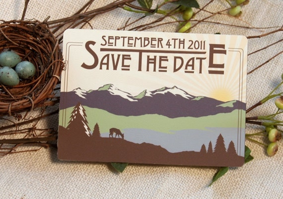Rocky Mountain Craftsman Style Save The Date Postcard: Get Started Deposit