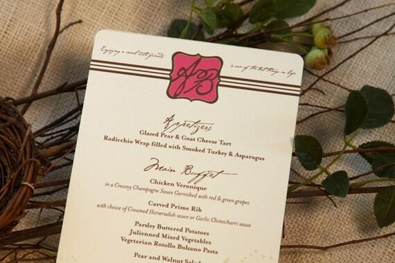 Pink & Black Wine Label Vineyard Inspired Wedding Menu: Get Started Deposit or DIY Payment