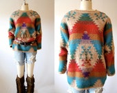 Vintage 80s sweater southwest navajo Indian western Ikat  boho oversized slouchy taupe heathered turquoise red tan purple L large