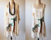 Summer Palms vintage 80's dress painted embroidered palm trees boho tropical oversized sundress M L medium large