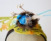 Bird in nest headband. Nesting blue bird on hand painted lace headpiece with twigs girls or womens