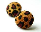 Button Earrings Leopard Print Rockabilly