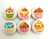 Magnets- Fabric Button Cupcakes- Set of 6