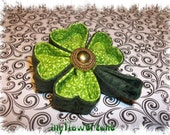 Kanzashi Flower Lucky Green Four Clover for St Patricks Day Hair accessory Embellishment Fabric Shamrock Flower